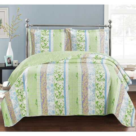 Green Boho Quilted Floral Bedspread Set - Adley & Company bedspread, Adley & Company Inc., Adley & Company Inc.