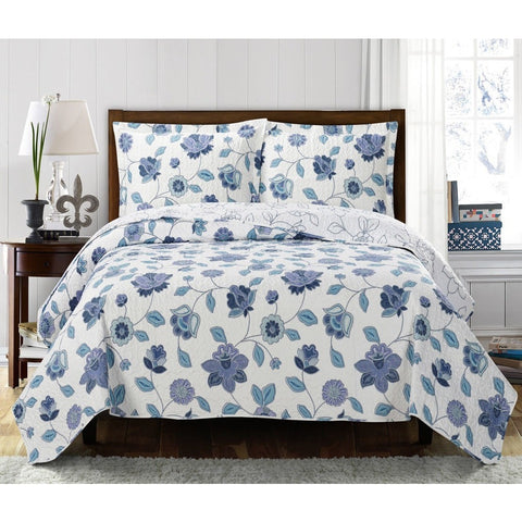 Blue and White Floral Coverlet Set