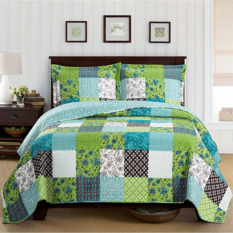 Green Patchwork Boho Bedspread Set