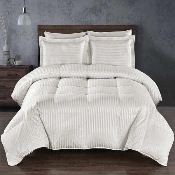 White Silk Goose Down Duvet with Striped Pattern