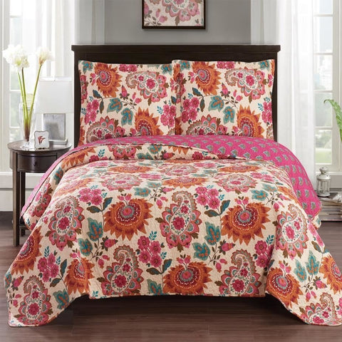 Bright Paisley Floral Quilted Bedspread Set
