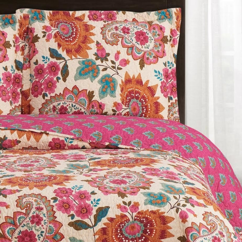 Bright Paisley & Floral Quilted Bedspread Set,bedspread,Adley & Company Inc.