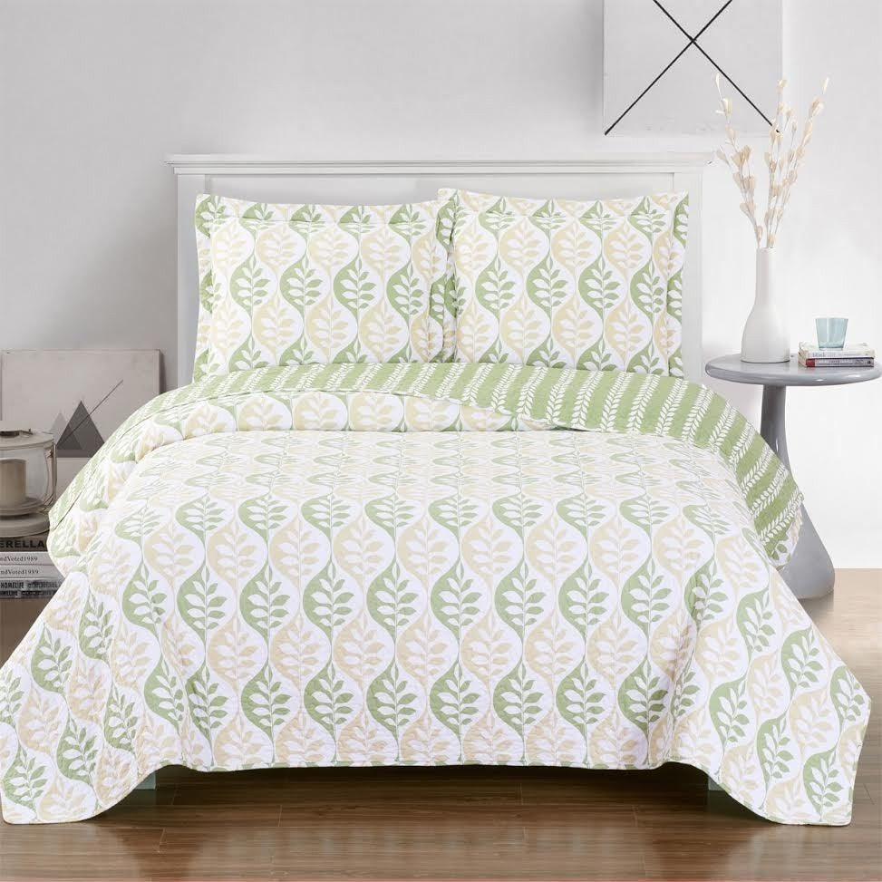 Quilted Green Bedspread Set,bedspread,Adley & Company Inc.