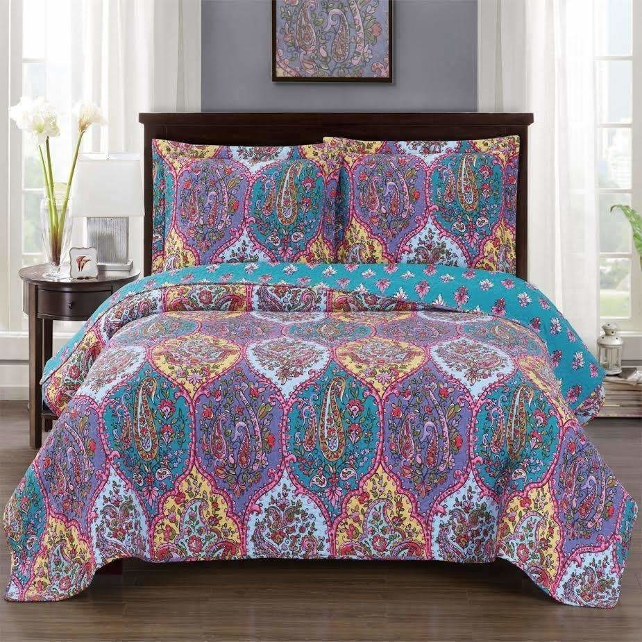 Paisley Boho Purple Bedspread Set,bedspread,Adley & Company Inc.