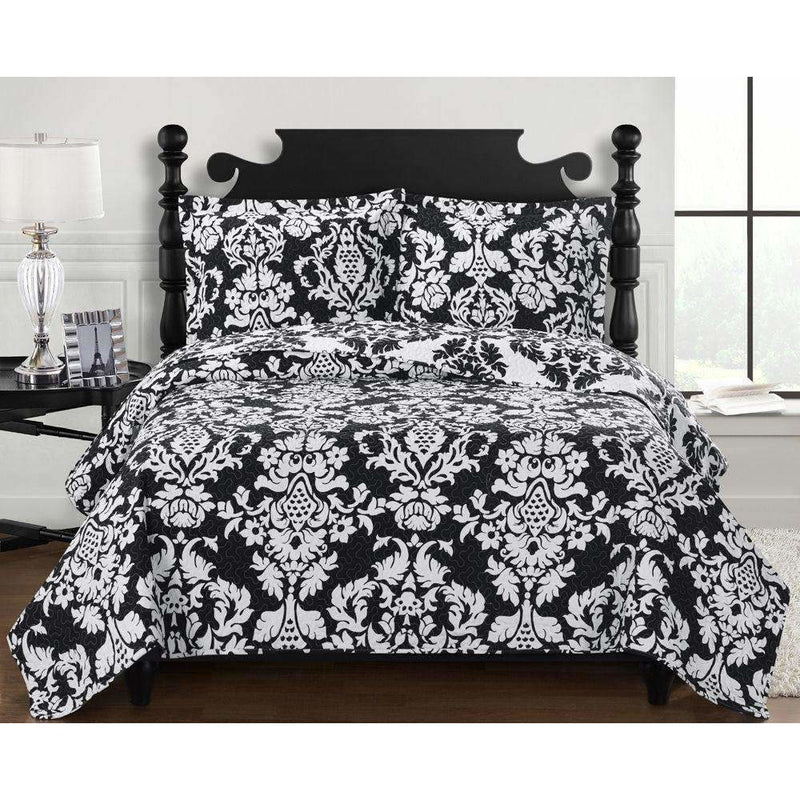 Black & White Damask Quilted Bedspread,bedspread,Adley & Company Inc.