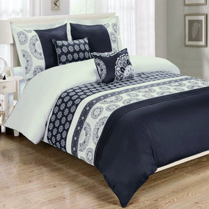Black and White Chelsea Medallion Comforter Set,comforter set,Adley & Company Inc.