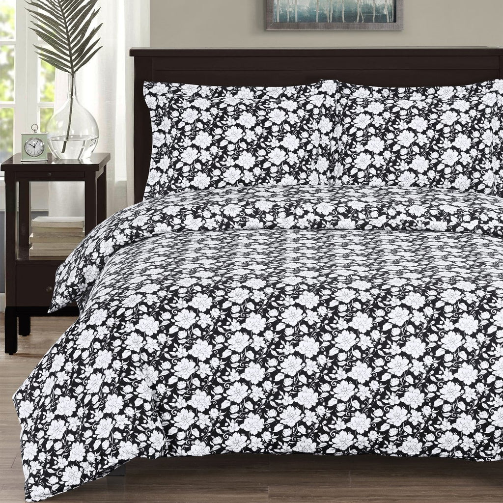 Black & White Floral Duvet Cover Set,duvet cover,Adley & Company Inc.