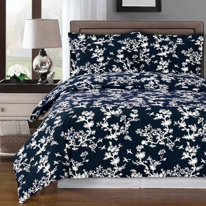 Lucy Navy Blue and White Duvet Cover Set