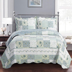 Quilted Green & Blue Floral Bedspread Set
