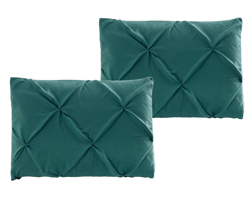 Luxury Soft Pinch Pleated Comforter Set in Deep Teal