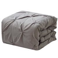 Luxury Soft Pinch Pleated Comforter Set in Grey,comforter,Adley & Company Inc.