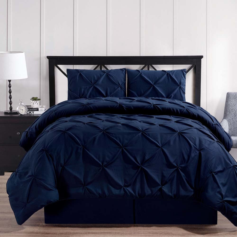 Luxury Soft Pinch Pleated Comforter Set in Navy Blue