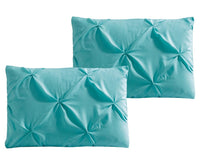 Luxury Soft Pinch Pleated Comforter Set in Aqua Blue,comforter,Adley & Company Inc.