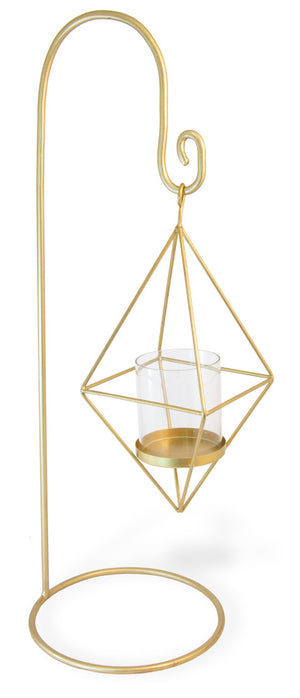 Polygon Gold Standing Candle Lantern,hurricane lamp,Adley & Company Inc.