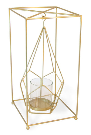 Square Pentagon Gold Candle Lantern,hurricane lamp,Adley & Company Inc.