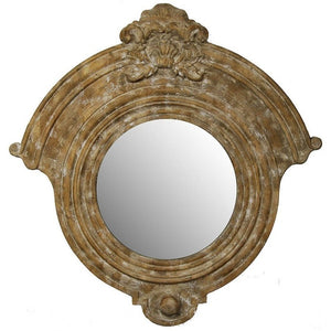 Large Carved Wood Round Wall Mirror,mirror,Adley & Company Inc.