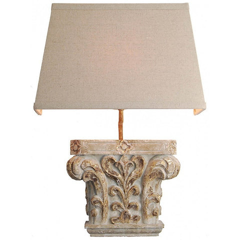 Carved Wood Sconce Light Fixture with Shade