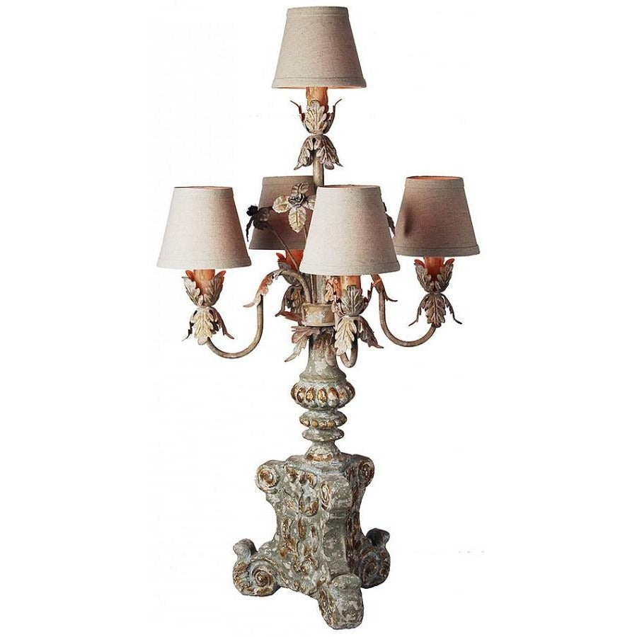 Wood Carved Candelabra Lamp with Mini Shades,candelabra,Adley & Company Inc.