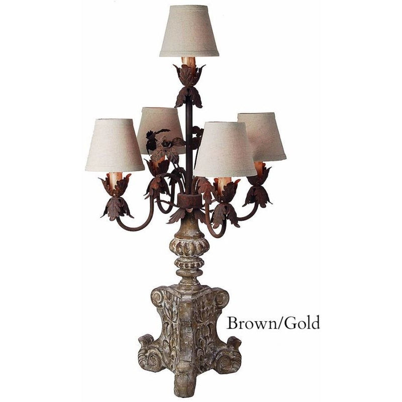 Don Quixote Wood Carved Candelabra Lamp with Mini Shades,candelabra,Adley & Company Inc.