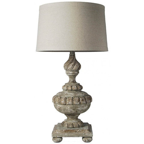 Antique Baroque Style Hand Carved Table Lamp with Shade - Adley & Company table lamp, Adley & Company, Adley & Company Inc.