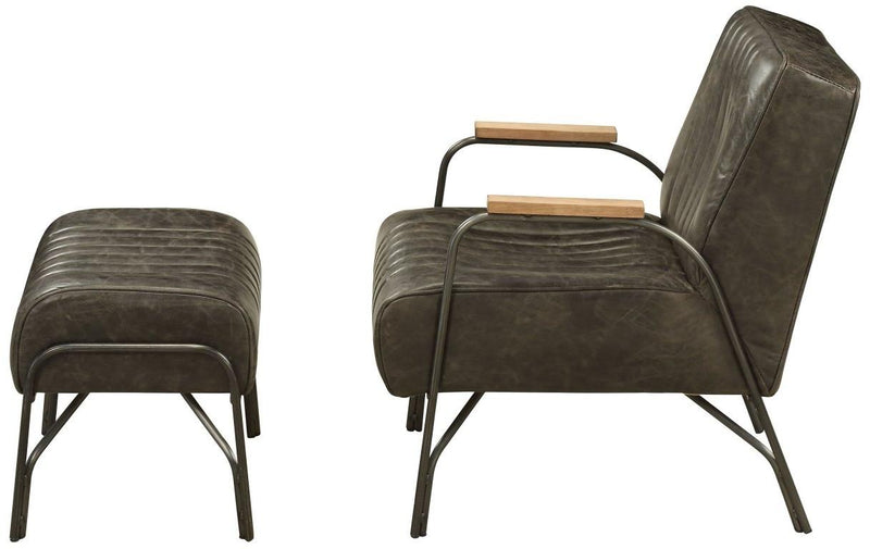 Industrial Leather and Metal Chair and Ottoman Set,desk chair,Adley & Company Inc.