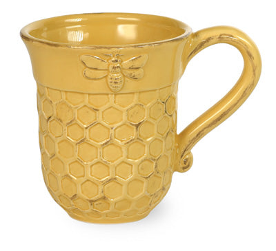 Honeycomb Bee Yellow Mugs, Set of 4