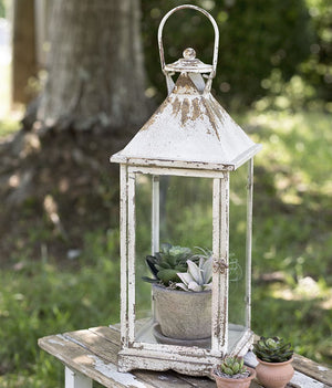White Metal and Glass Tall Candle Lantern