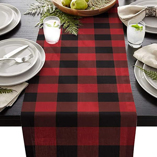 Red and Black Buffalo Plaid Check Table Runner