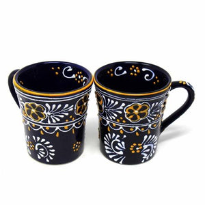 Fair Trade Mexican Blue Hand Painted Mugs, Set of 2
