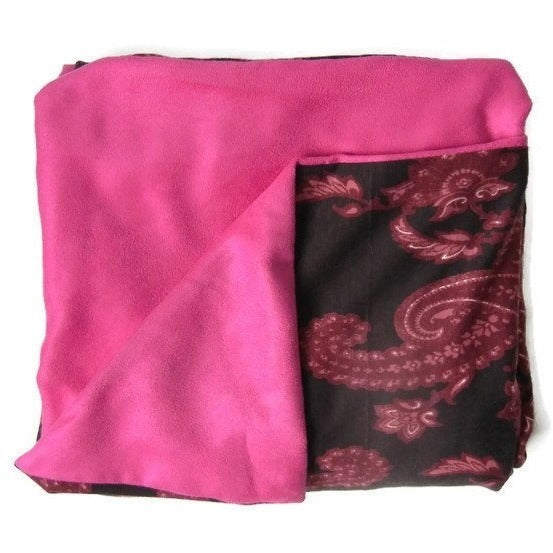 Pink Paisley & Faux Suede Throw Blanket - Adley & Company throw blanket, Adley & Company, Adley & Company
