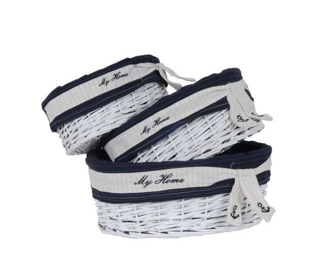 Set of 5 Oval White & Navy Blue Willow Baskets, Hamper,basket,Adley & Company Inc.
