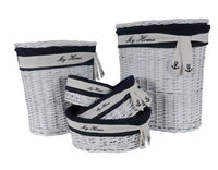 Set of 5 Oval White & Navy Blue Willow Baskets, Hamper