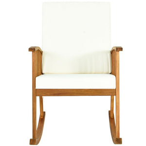 Outdoor Acacia Wood Rocking Chair with Cushion