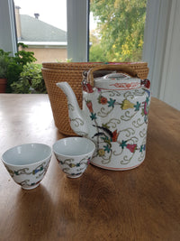 Vintage Porcelain Teapot with Basket Travel Caddy,teapot,Adley & Company Inc.