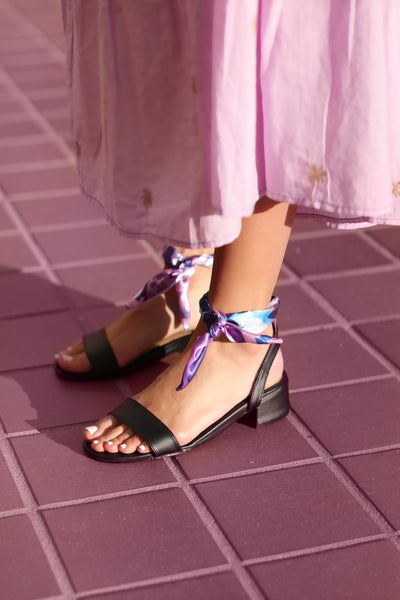 Scarf Knot Sandals - BLACK