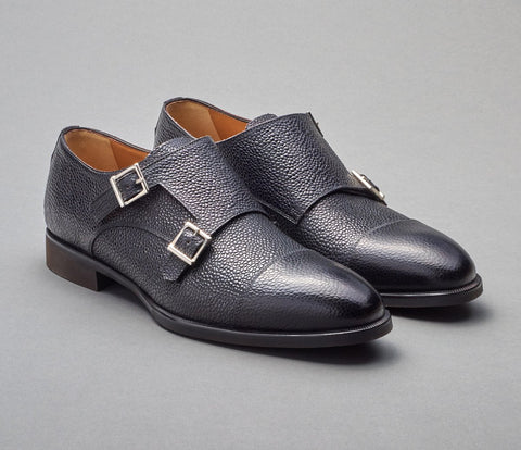 Scarpe Di Bianco Black Pebble Grain Monkstrap