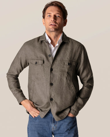 Eton Khaki Linen Over Shirt