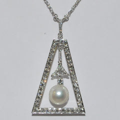 Diamond & Japanese Pearl Pendant, Daisy Exclusive Collections