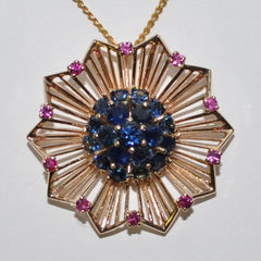 Vintage Sapphire & Ruby Pendant 14K - Westmount, Montreal, Quebec - Daisy Exclusive