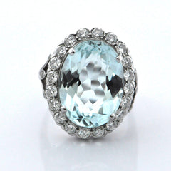 Aquamarine and Diamond Ring - Daisy Exclusive - Montreal Jewelry