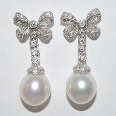 18K VINTAGE SOUTH SEA PEARL DROP & DIAMOND BOW EARRINGS - Westmount, Montreal