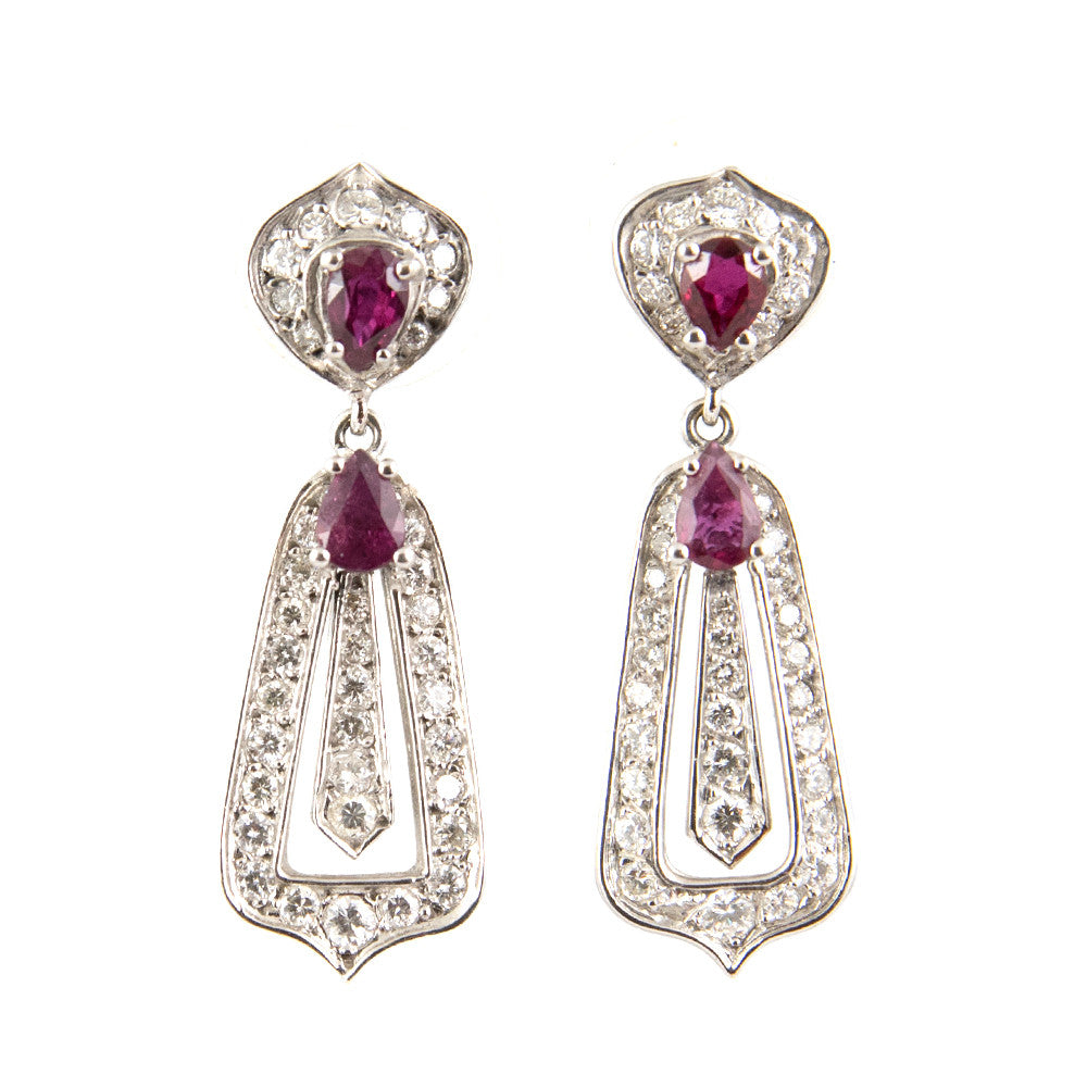 Antique Ruby & Diamond Drop Earrings 18K - Westmount, Montreal