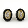 Vintage Black Onyx & Diamond Earrings 18K & Platinum