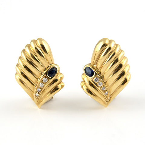 18K Gold Sapphire & Diamond Earrings - Westmount, Montreal, Quebec
