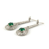 French Art Deco Emerald & Diamond Earrings in Platinum C.1920 - Westmount Montreal Quebec - Daisy Exclusive