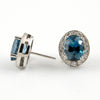 Double Blue Aquamarine & Diamond Stud Earrings