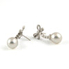 18K Vintage South Sea Pearl Drop & Diamond Bow Earrings