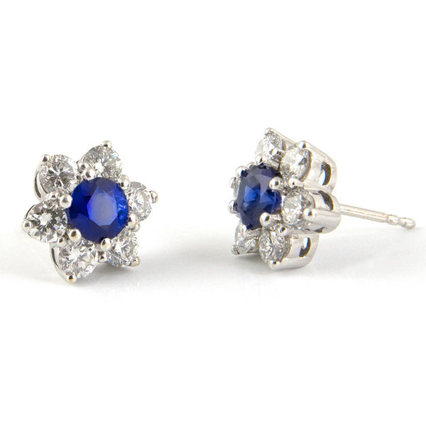 Vintage 1.34CT Sapphire and 1.7CT Diamond 18K White Gold Flower Studs