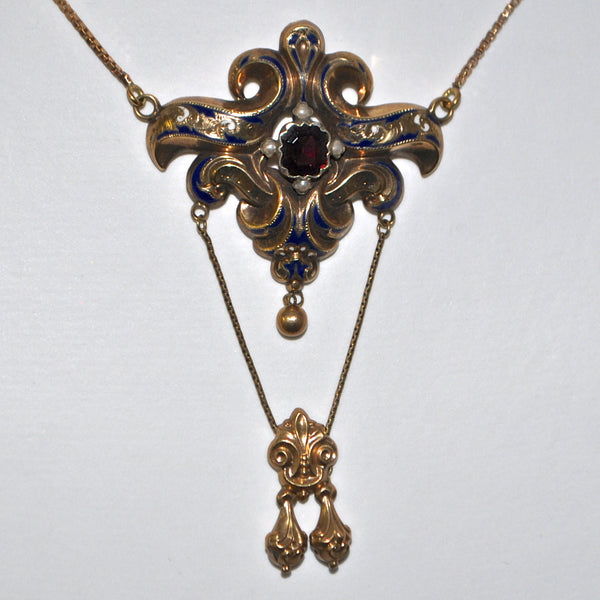 Antique Garnet & Pearl Necklace, 14k Gold