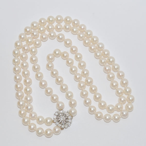 Timeless Double Strand Akoya Pearl Necklace with Diamond Clasp